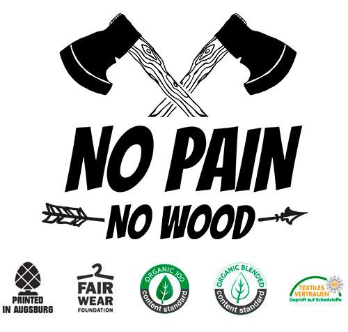 Holzfäller Tshirt No Pain no Wood für Waldarbeiter und Förster