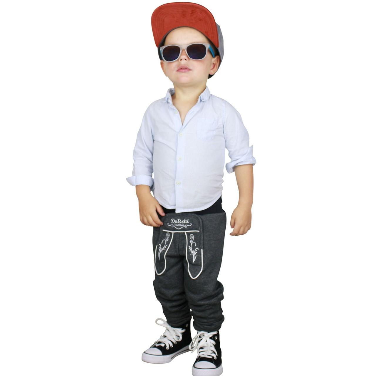 Baby Lederhosen Jogginghose Dunkelgrau